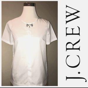 New JCREW jeweled bow white cotton blouse size 6